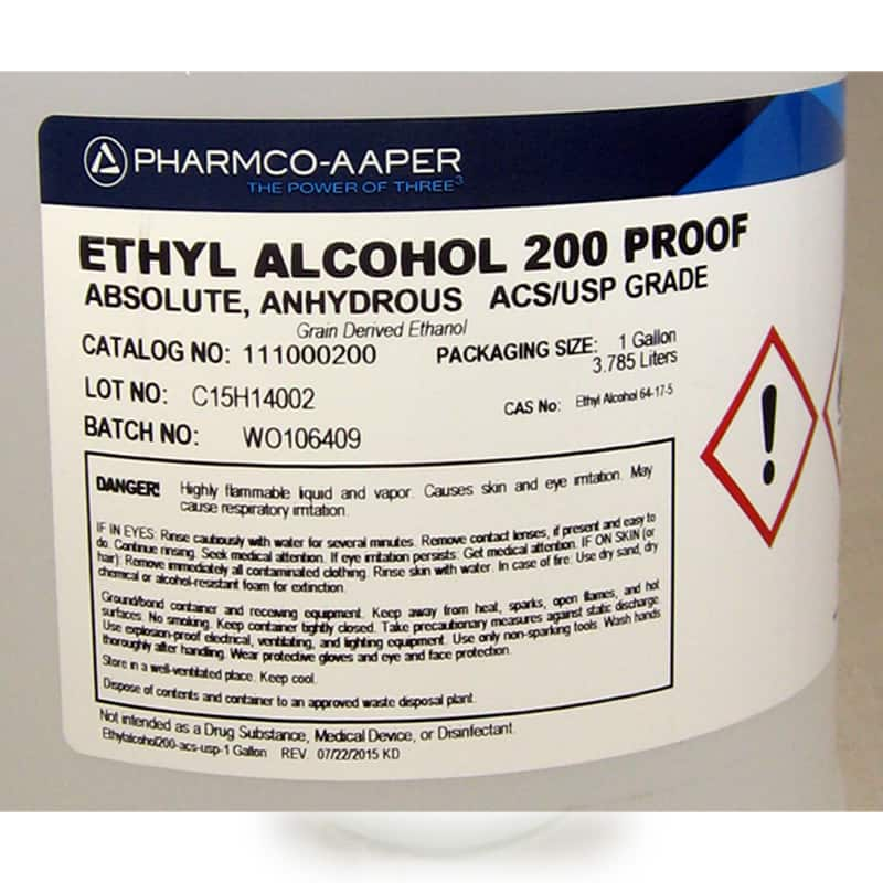 Ethyl Alcohol 1 Gal 200 Proof Absolute Undenatured A
