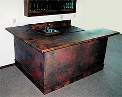 Patina metal on wetbar
