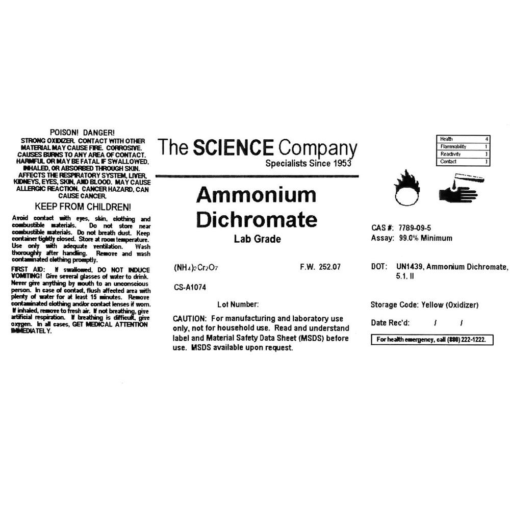 Lab grade ammonium dichromate 100g for sale volcano project ammonium dichromate label buycottarizona Image collections
