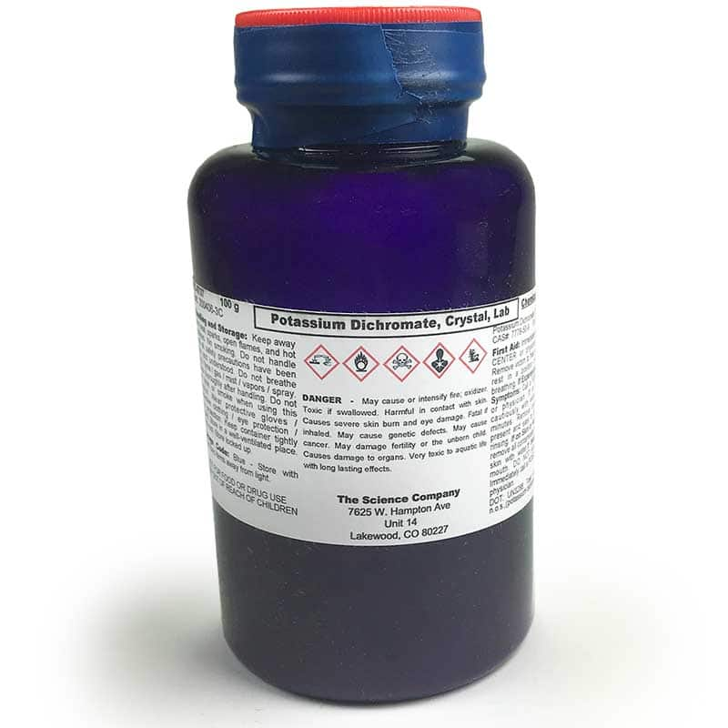 design potassium dichromate essay I carried out a reaction between potassium dichromate (vi) solution, an ethanol-water mixture, and 5moldm^3 sulfuric acid: 2cr2o7 2- + 3c2h5oh + 16h+ -.