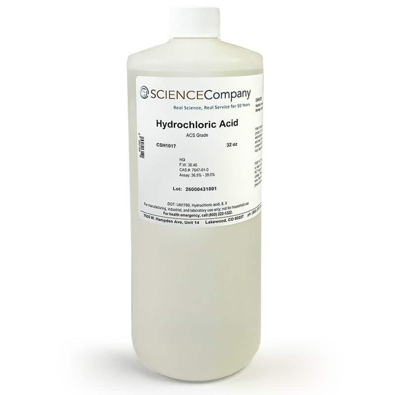 Concentrated Hydrochloric Acid, 32oz For Sale. Buy From