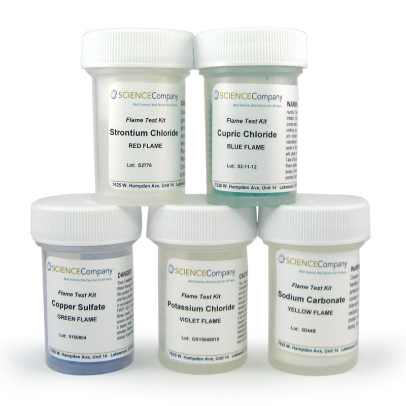 Flame Test Chemical Kit With Five Chemicals