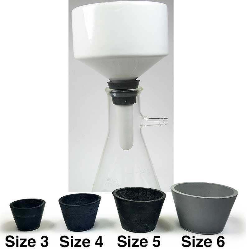 LabZhang 9 Count Buchner Funnel Flask Adapter Set,Filter Adapter Cones Set,Tapered Collar White 9 Sizes,9pcs