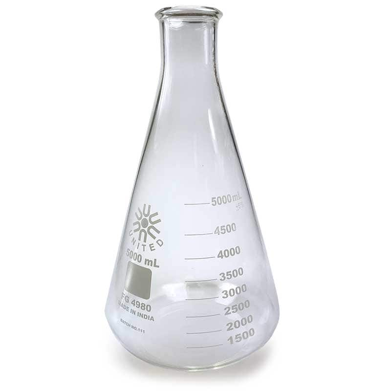Borosilicate Glass Erlenmeyer Flask, 5000mL