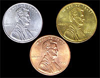Turn copper pennies into silver and gold pennies place the silver penny on a hot plate heated to about 570f 300c watch as the heat diffuses the zinc with the copper to form a brass alloy publicscrutiny Images