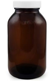 Amber Glass Wide Mouth Bottle, 16oz.