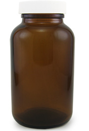 Amber Glass Wide Mouth Bottle, 8oz.