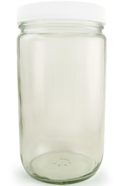 Clear Glass Wide Mouth Bottle, 32oz., Cs/12
