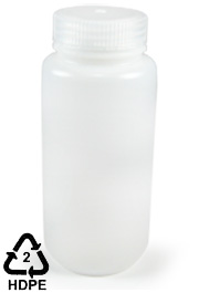 HDPE Polyethylene Wide-Mouth Sample Bottle, 500mL (16oz), Cs/12