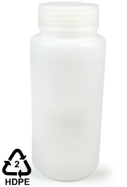 HDPE Polyethylene Wide-Mouth Sample Bottle, 1000mL (32oz)