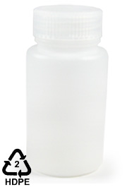 HDPE Polyethylene Wide-Mouth Sample Bottle, 125mL (4oz)