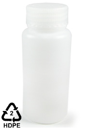 HDPE Polyethylene Wide-Mouth Sample Bottle, 250mL (8oz), Cs/24
