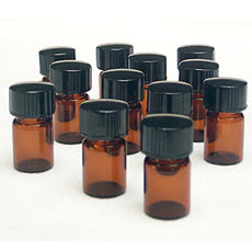 Amber Colored Glass Vials, 5/8 dram, Pk/12
