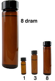 Amber Colored Glass Vial, 8 dram