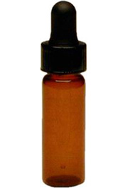 Amber colored glass dropper vial, 1 dram