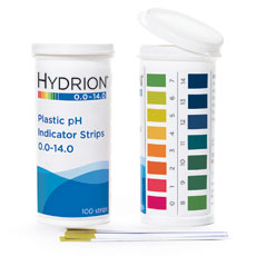 Hydrion Plastic pH Strips, 0-14. Pk/100